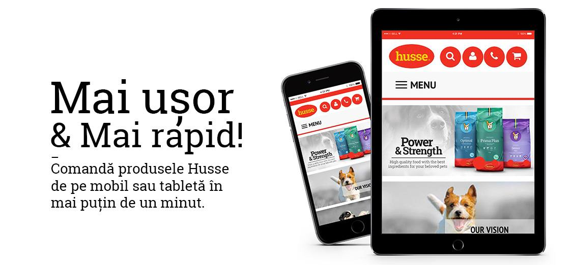Site Husse pentru mobile - Mai Ușor & Mai Rapid! - Comandă online mâncarea preferată de pe mobil în mai puțin de un minut!